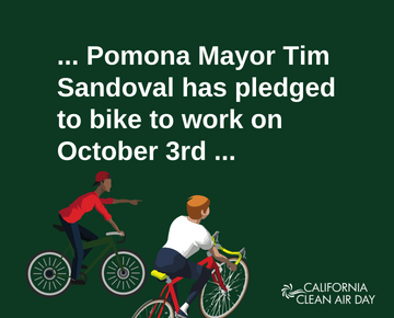 """clip art of two bicyclists with the caption """"Pomona Mayor Tim Sandoval has pledged to bike to work on October 3rd"""""""