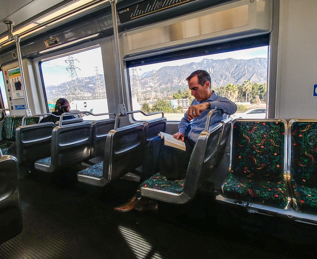 Los Angeles Mayor Eric Garcetti riding the Gold Line train