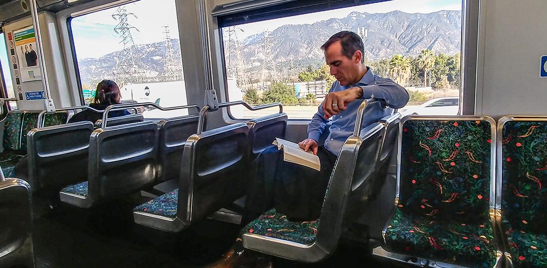 Los Angeles Mayor Eric Garcetti riding the Gold Line train
