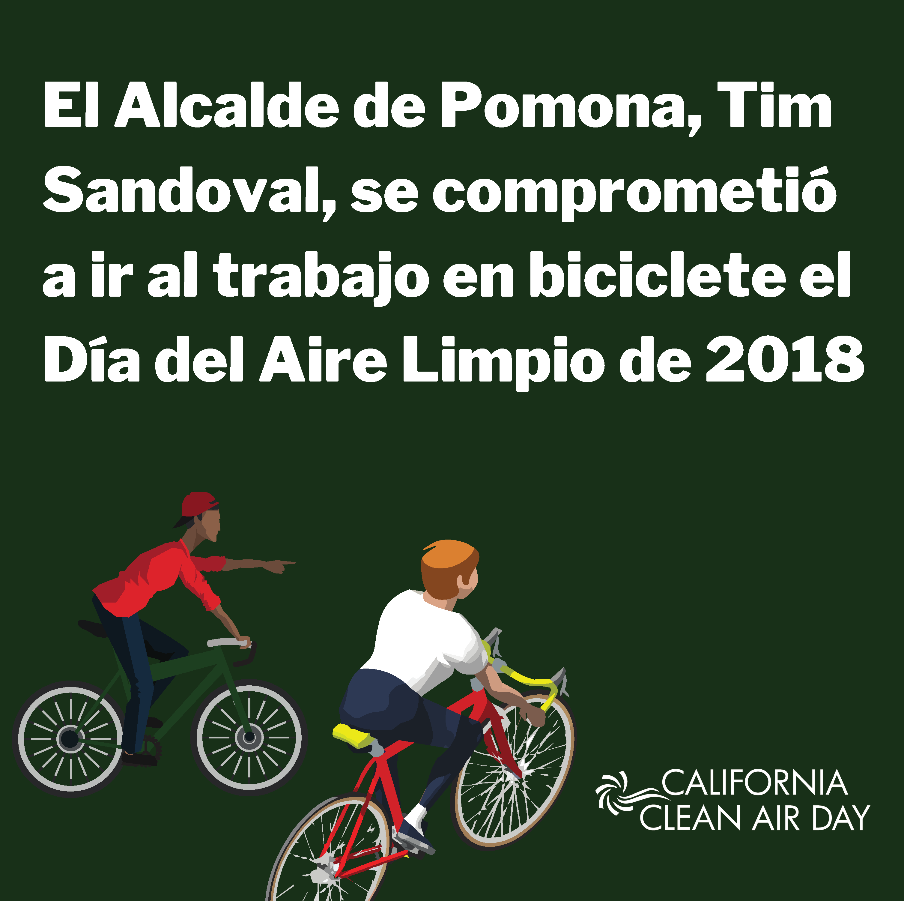 "clip art of two bicyclists with the caption ""Pomona Mayor Tim Sandoval has pledged to bike to work on October 3rd"""